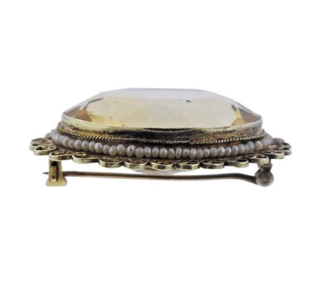 14K Gold Citrine Pearl Oval Brooch - 2
