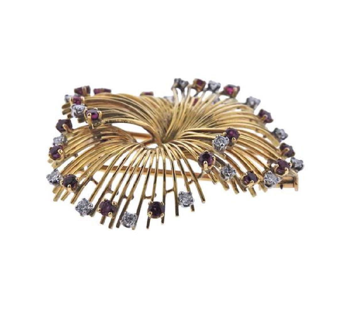 French  18K Gold Diamond Ruby Brooch - 2