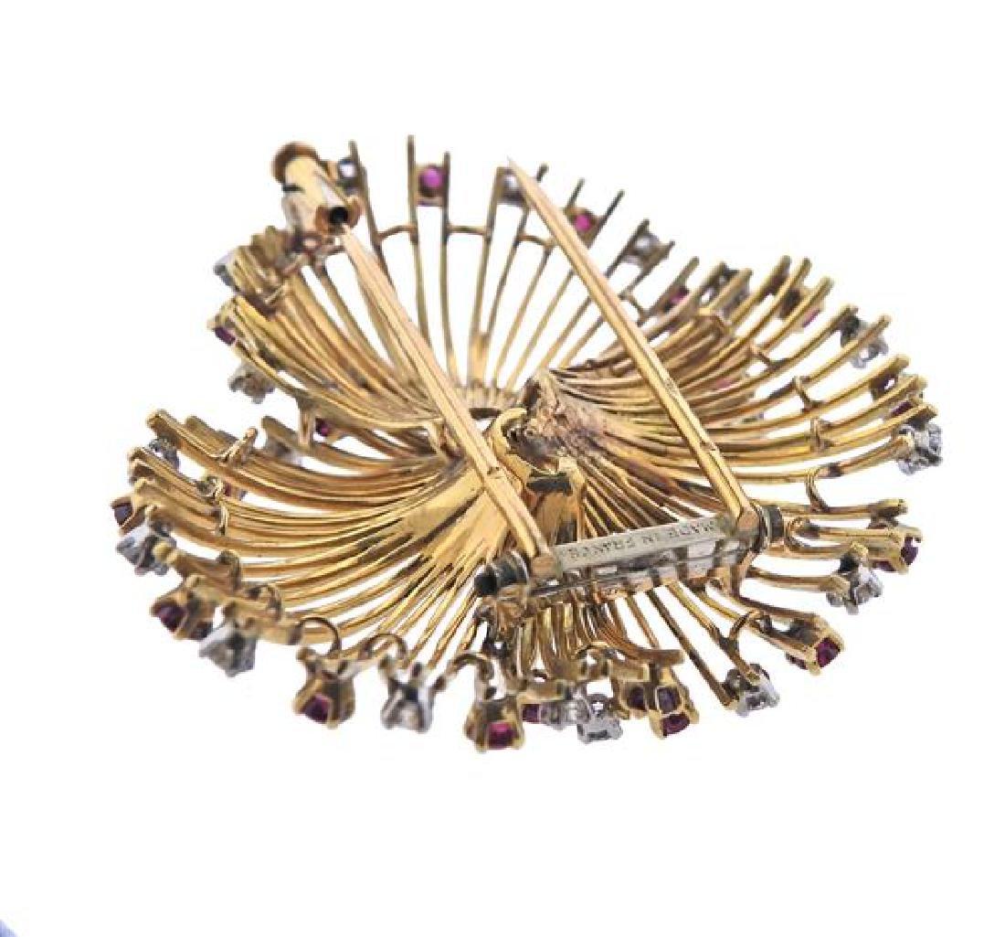 French  18K Gold Diamond Ruby Brooch - 4