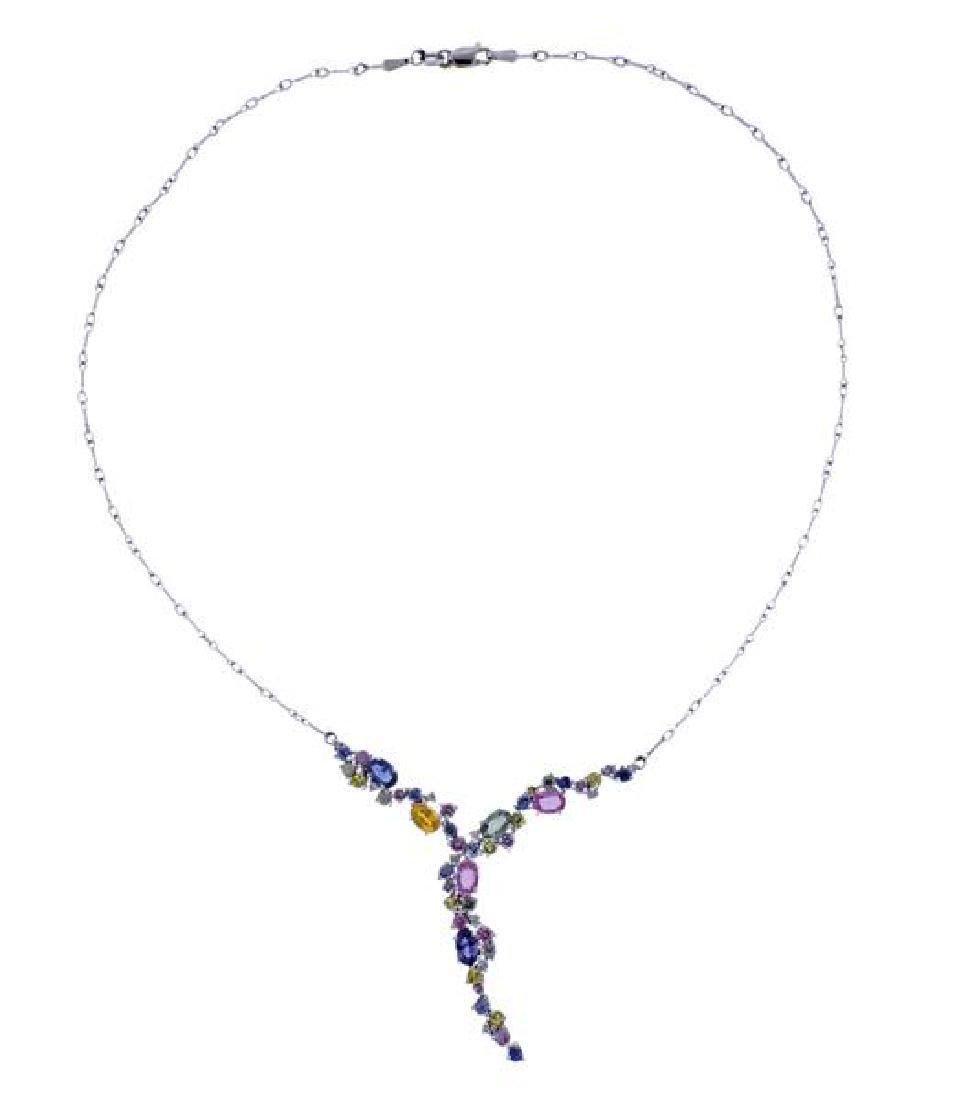 14K Gold Multi Color Gemstone Drop Necklace