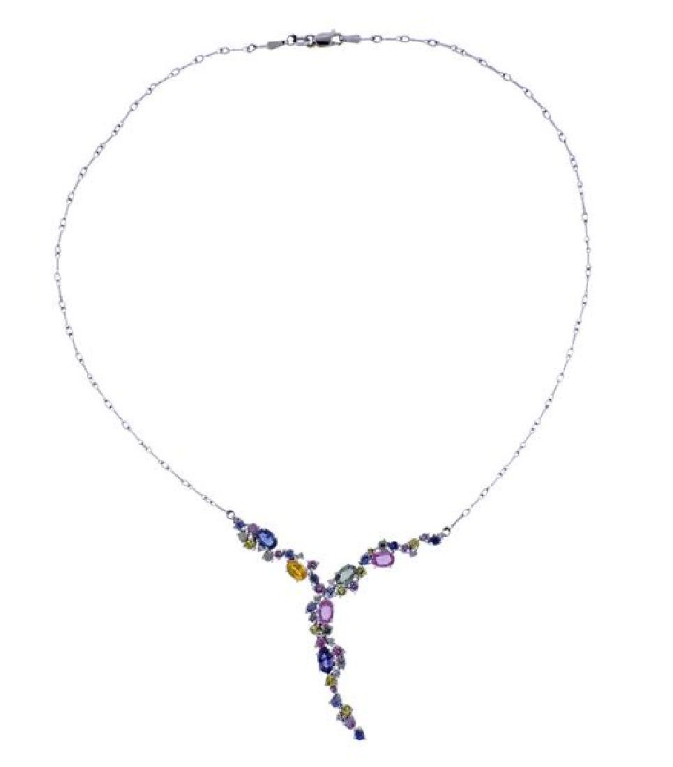 14K Gold Multi Color Gemstone Drop Necklace