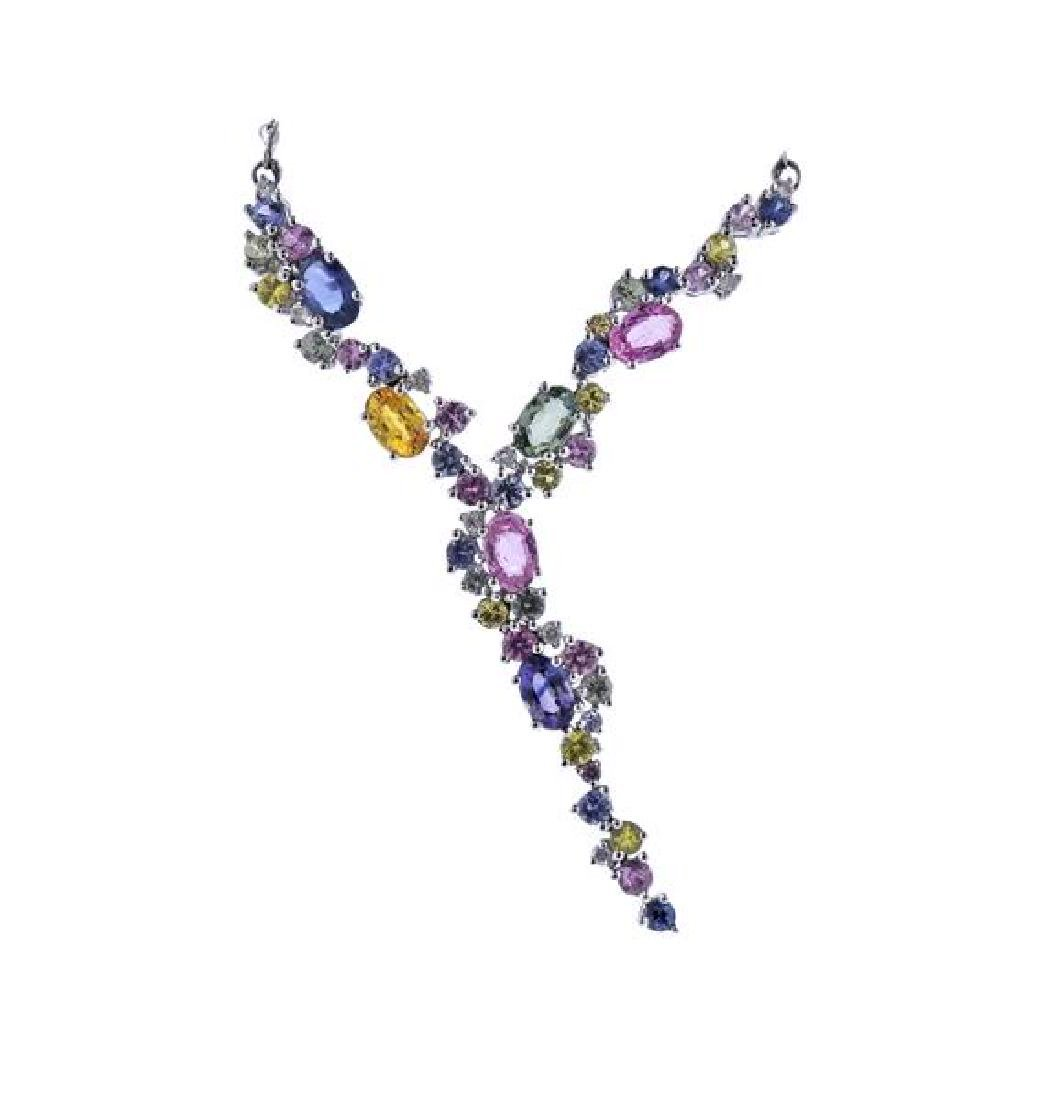 14K Gold Multi Color Gemstone Drop Necklace - 2