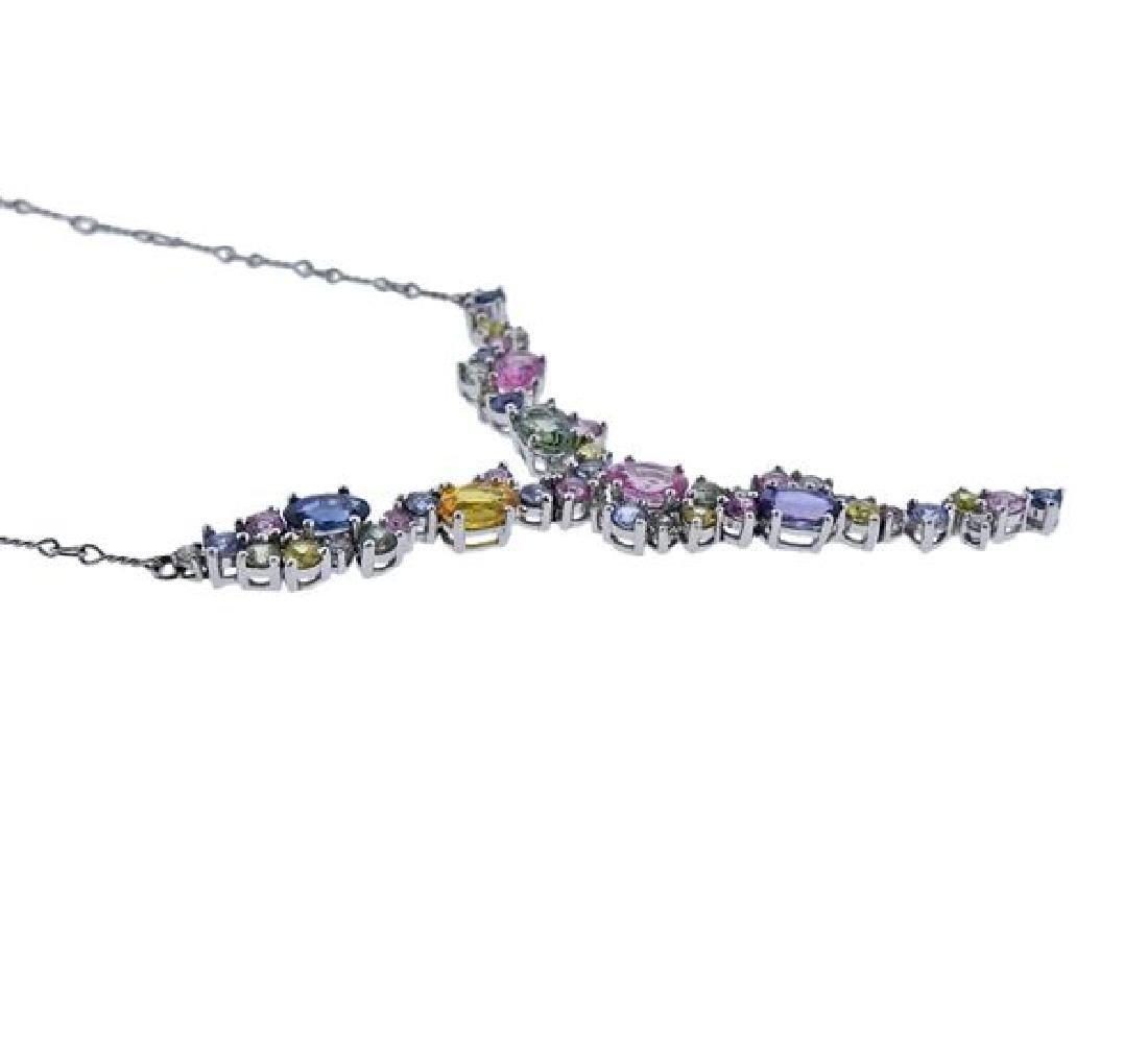14K Gold Multi Color Gemstone Drop Necklace - 3