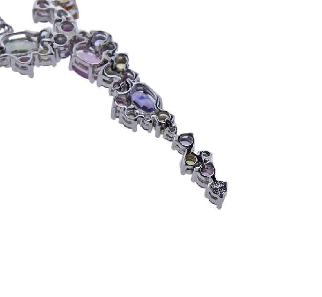14K Gold Multi Color Gemstone Drop Necklace - 4