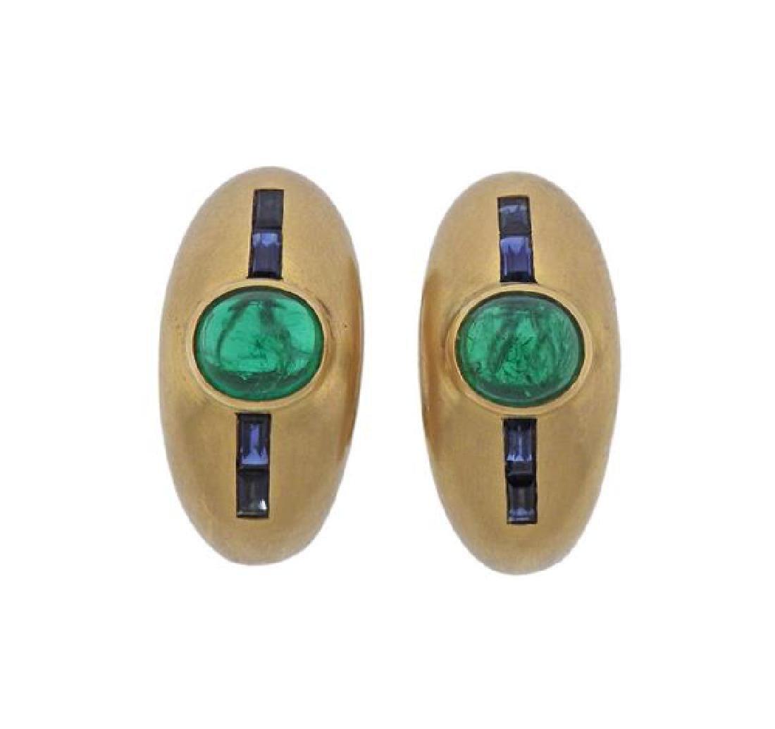 18K Gold Emerald Sapphire Half Hoop Earrings