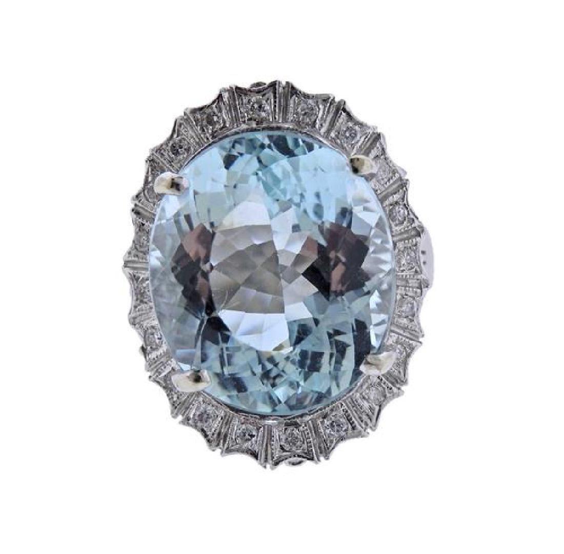14K Gold 18.5ct Aquamarine Diamond Ring