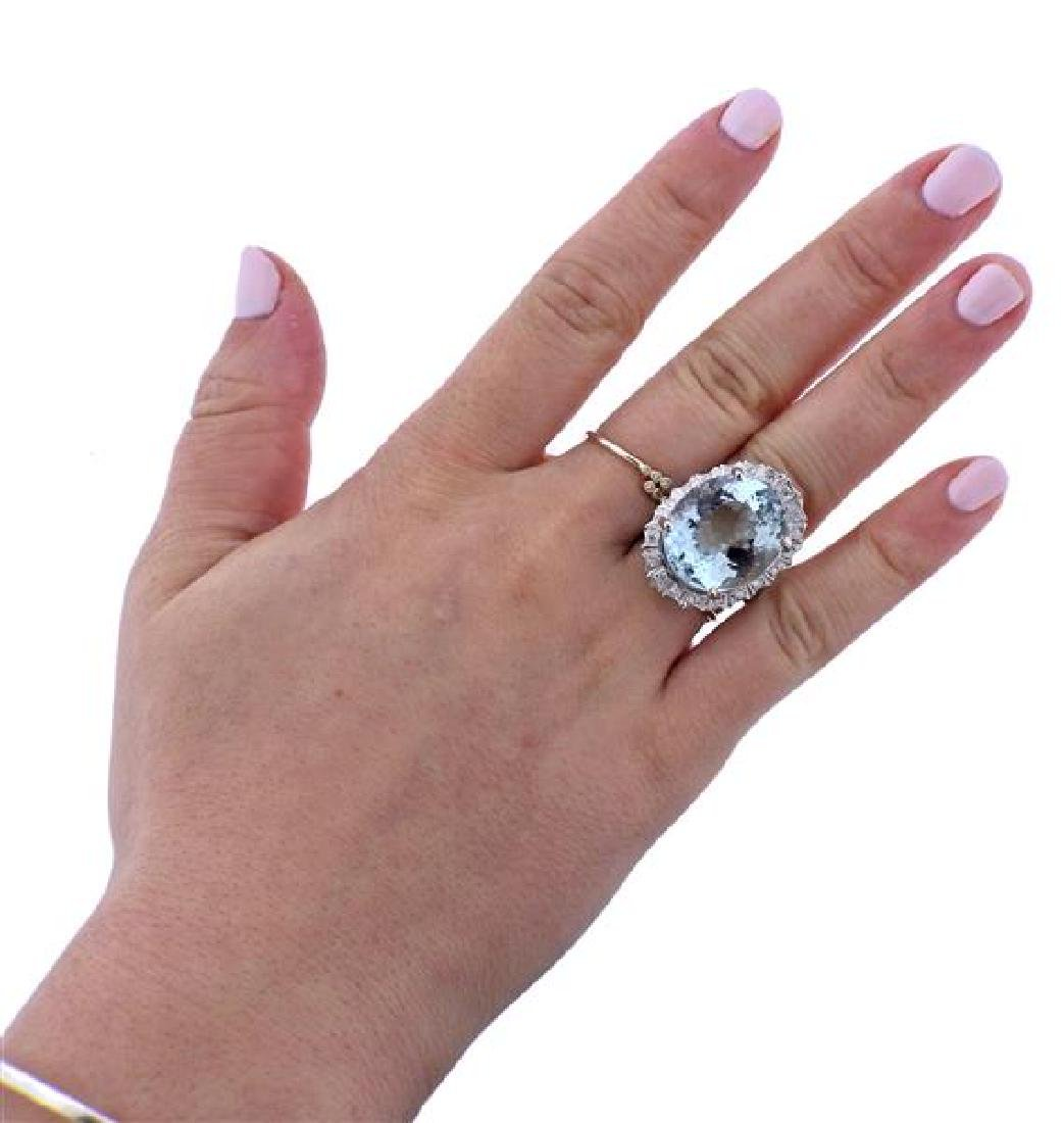 14K Gold 18.5ct Aquamarine Diamond Ring - 2