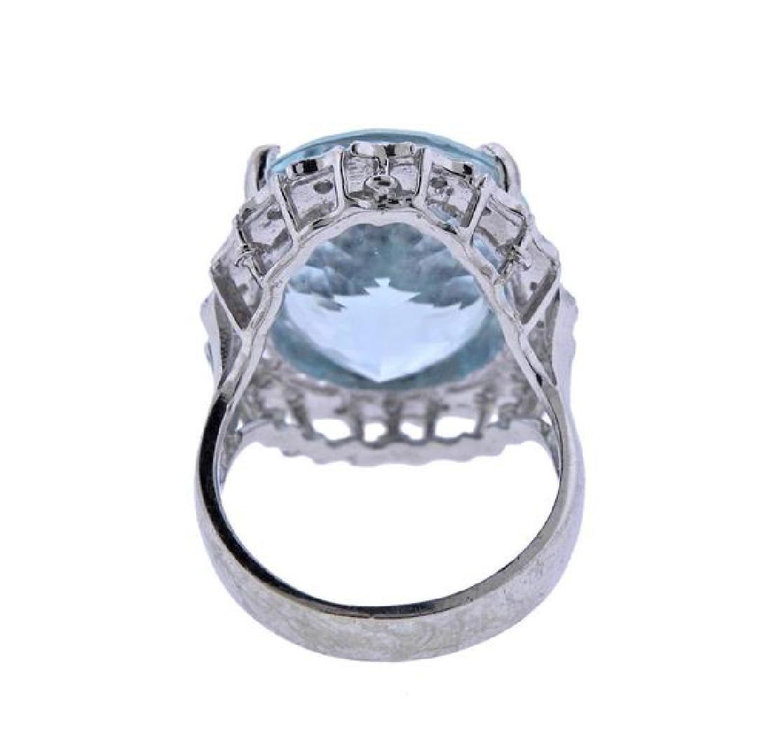 14K Gold 18.5ct Aquamarine Diamond Ring - 4