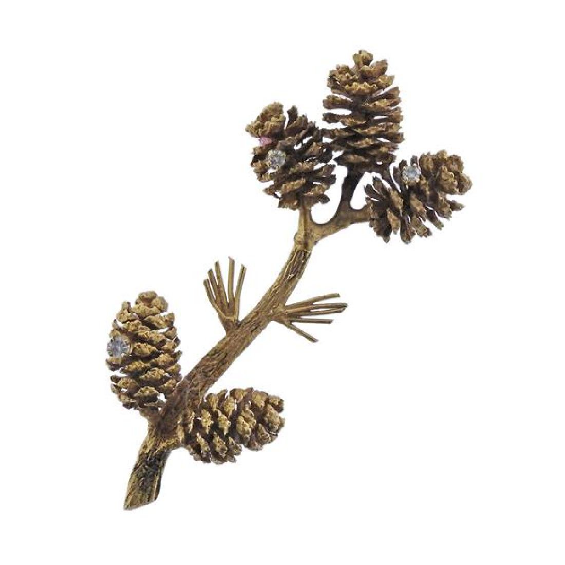 14K Gold Diamond Pine Cone Brooch Pin