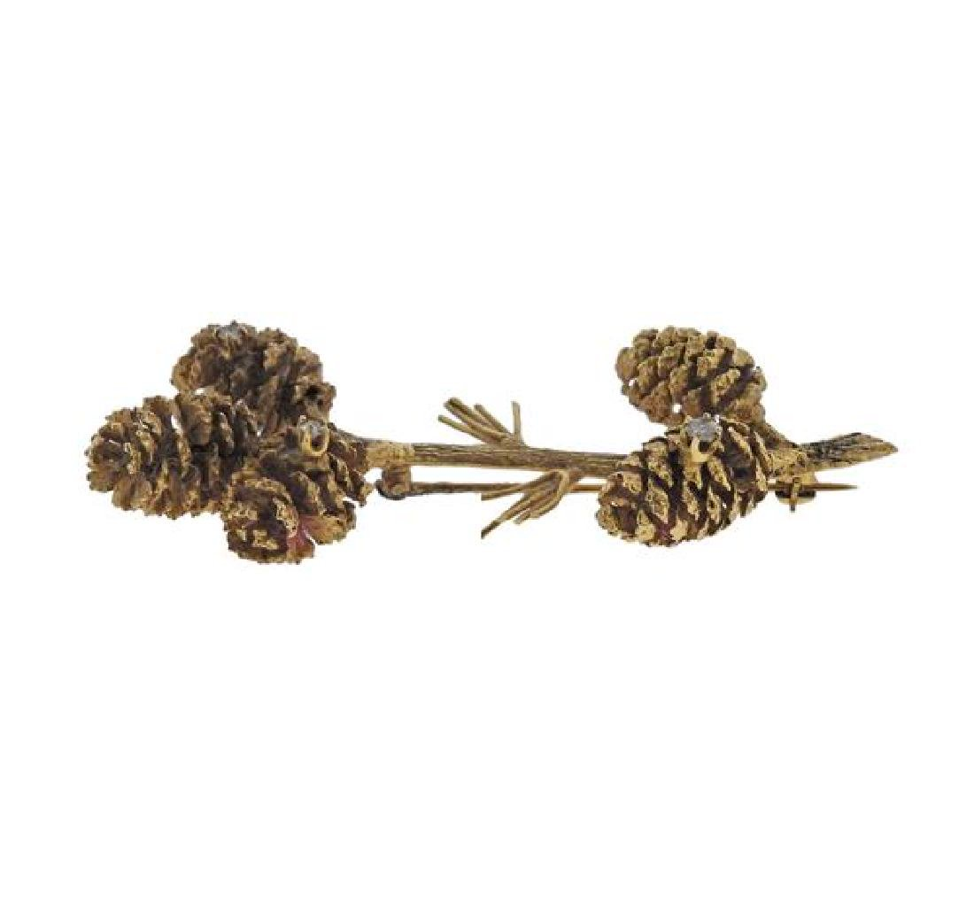14K Gold Diamond Pine Cone Brooch Pin - 2