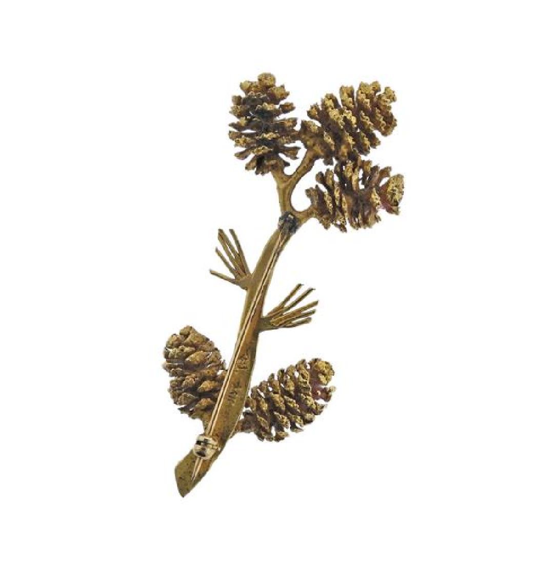 14K Gold Diamond Pine Cone Brooch Pin - 3