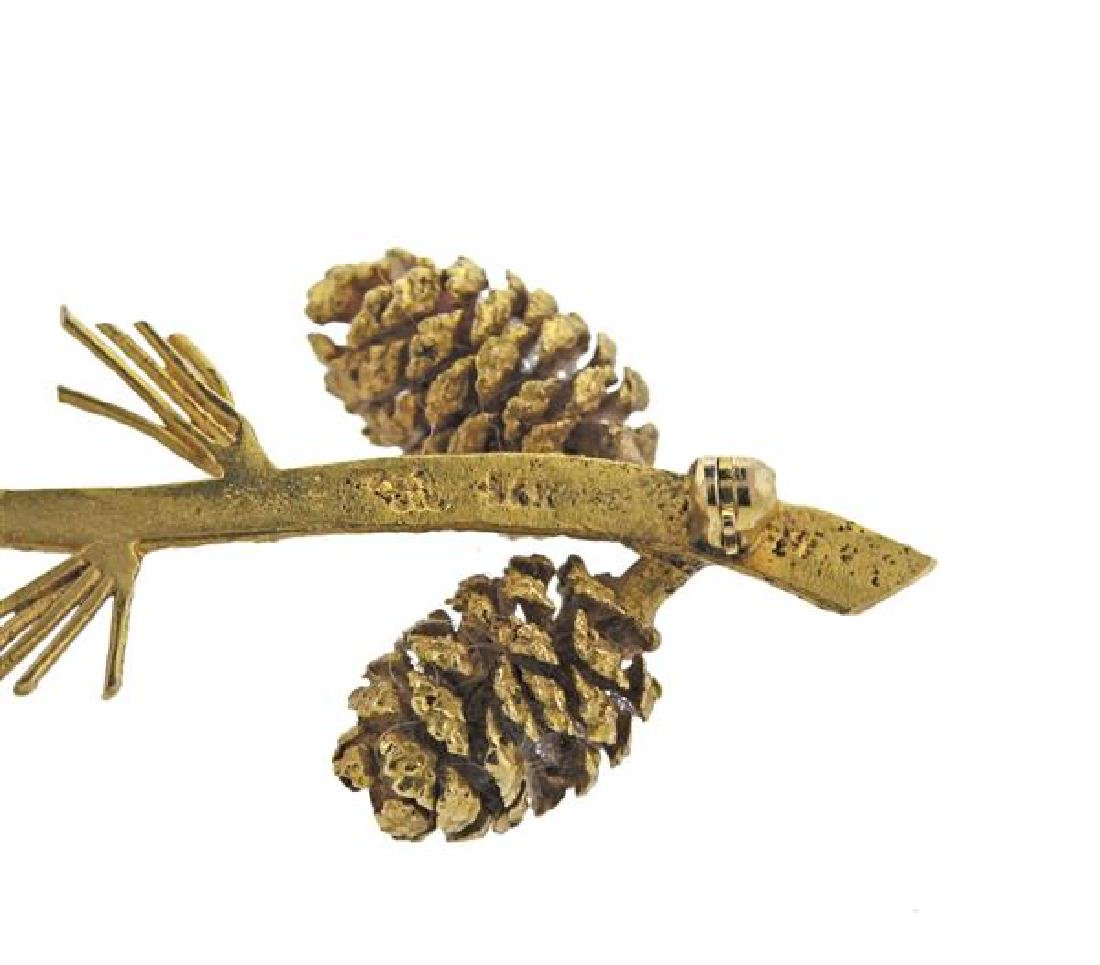 14K Gold Diamond Pine Cone Brooch Pin - 4