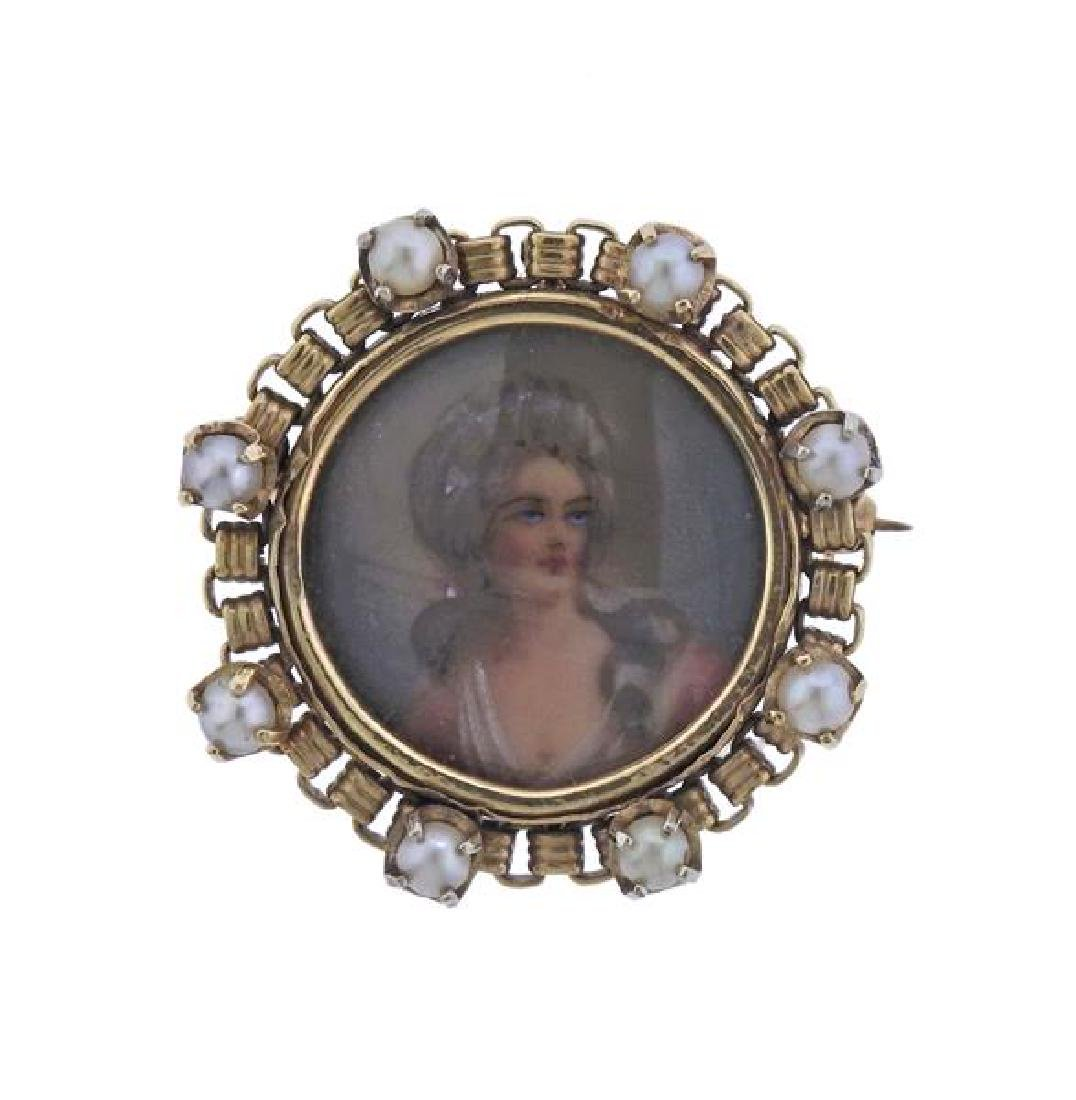 Antique 14K Gold Pearl Miniature Painting Brooch