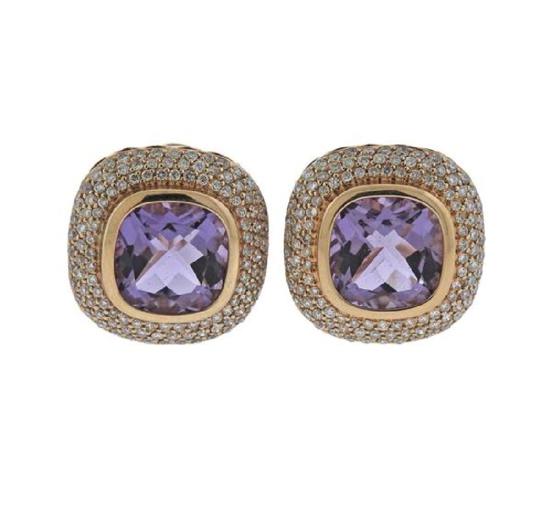 14K Gold Diamond Amethyst Earrings