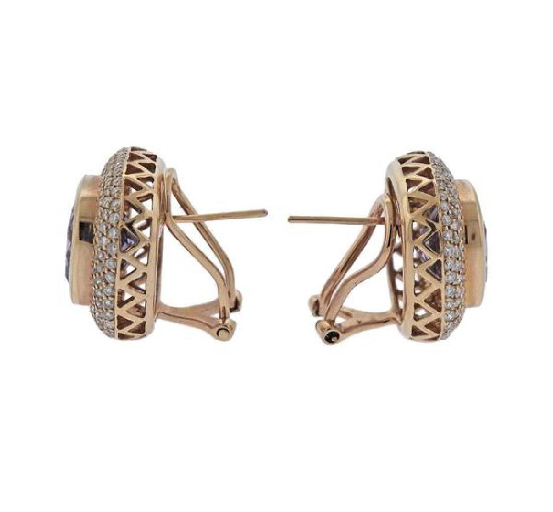 14K Gold Diamond Amethyst Earrings - 2