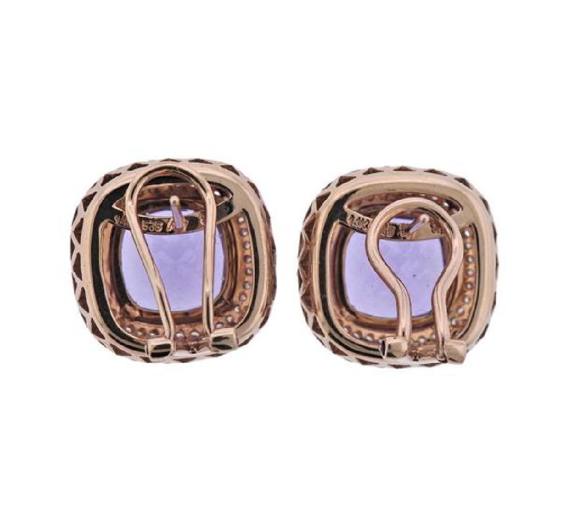 14K Gold Diamond Amethyst Earrings - 3