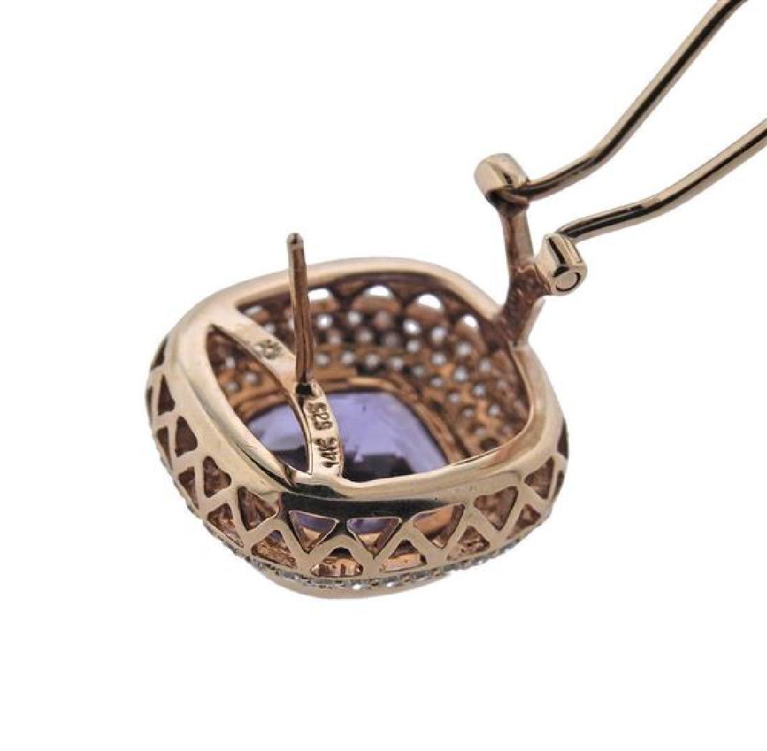 14K Gold Diamond Amethyst Earrings - 4