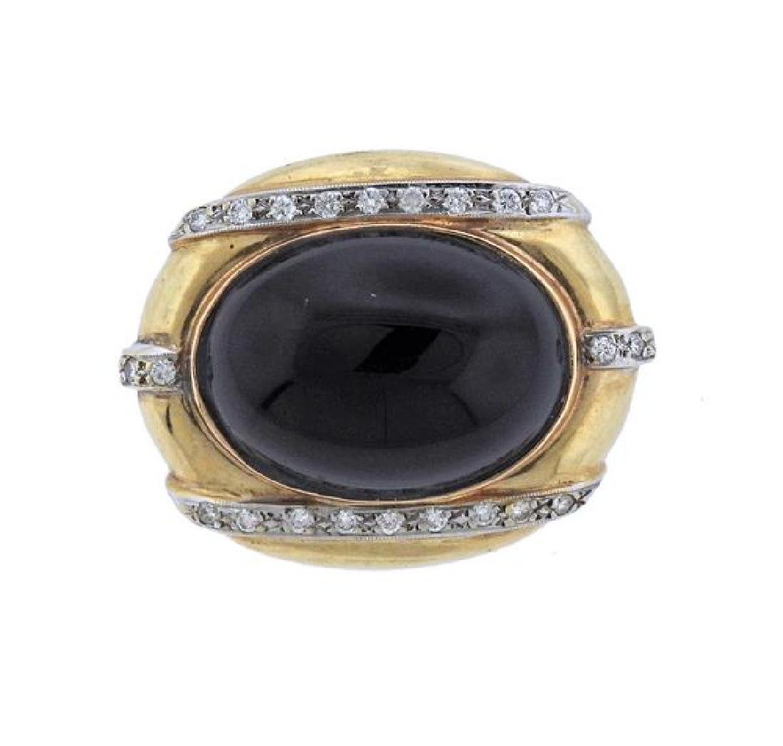 14K Gold Diamond Onyx Brooch