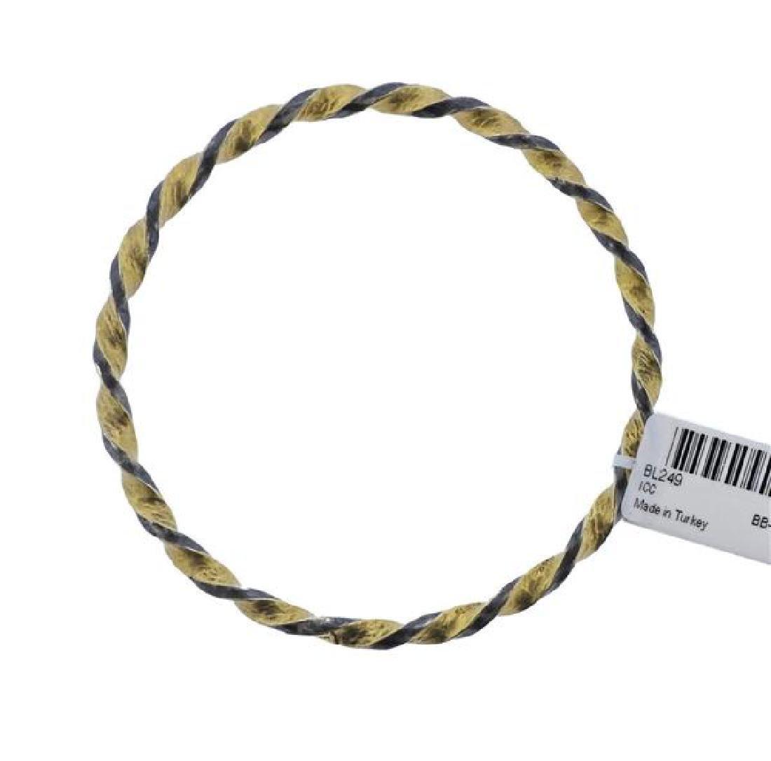 Gurhan Midnight Gold Sterling Twisted Bangle Bracelet
