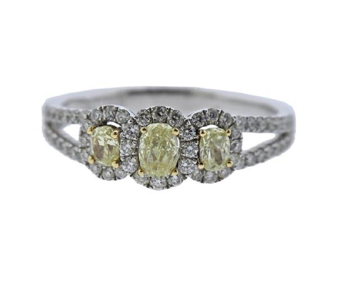 14K Gold White Yellow Diamond Ring