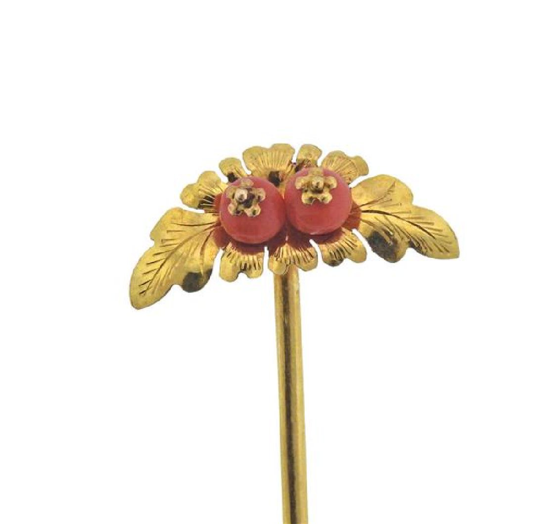 20K Gold Coral Stick Pin - 4