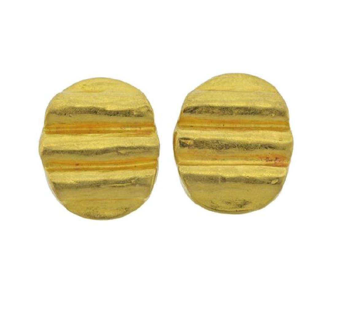 Denise Roberge 22K Gold Oval Earrings