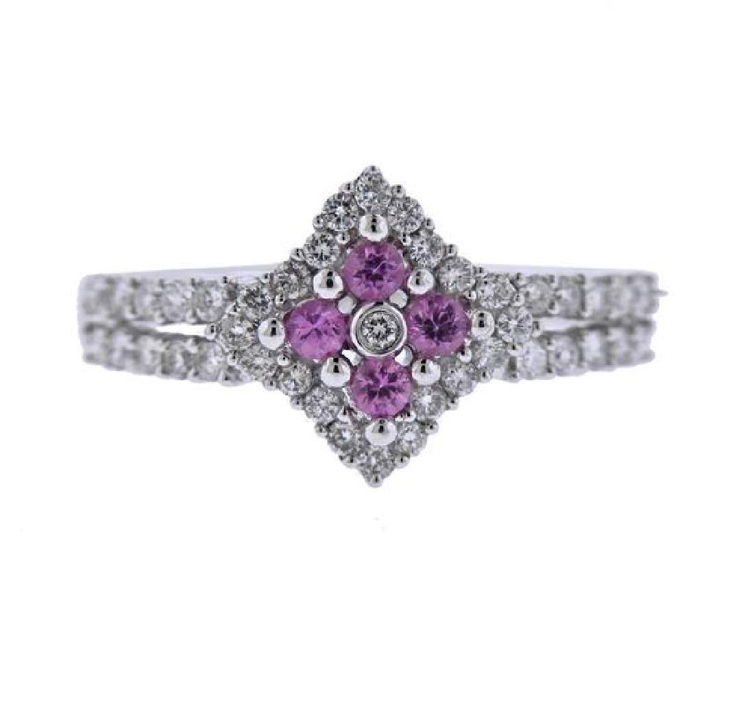 18K Gold Diamond Pink Sapphire Ring