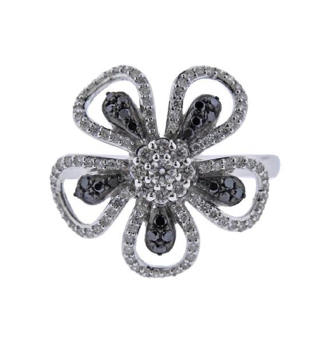 14K Gold White Black Diamond Flower Ring