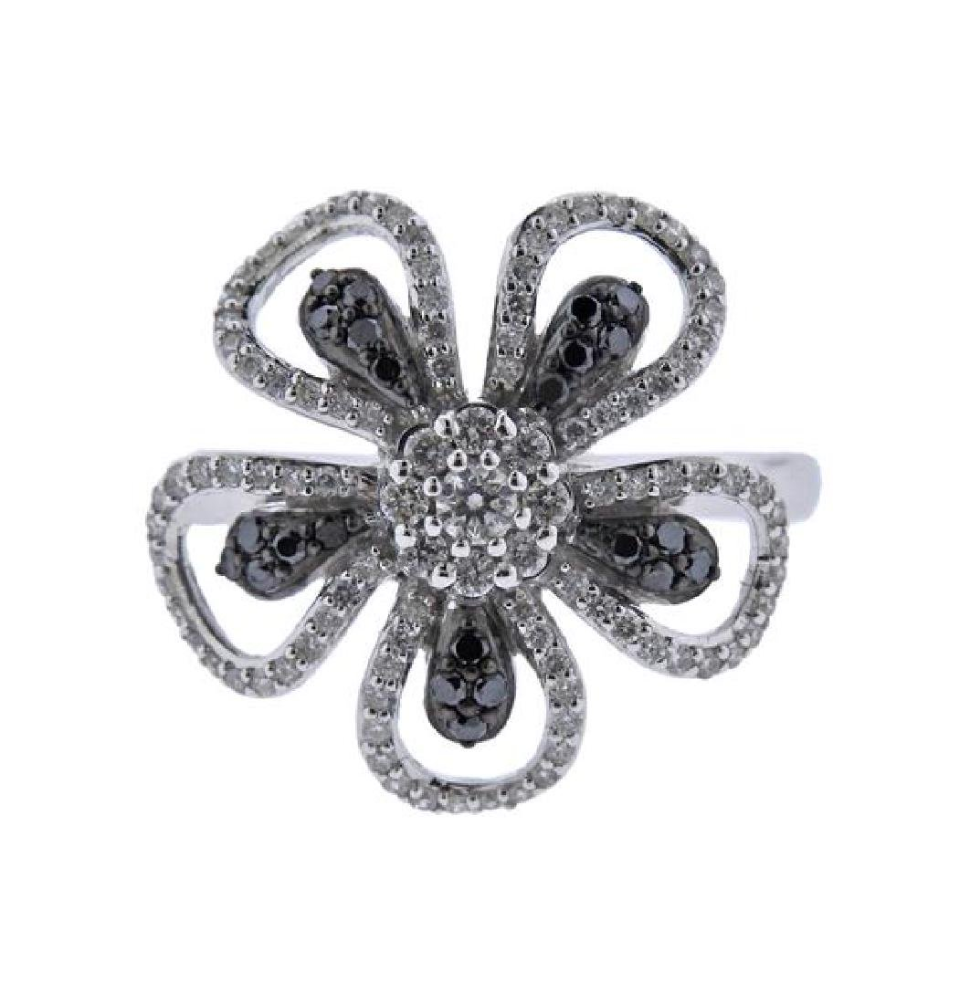 14K Gold White Black Diamond Flower Ring