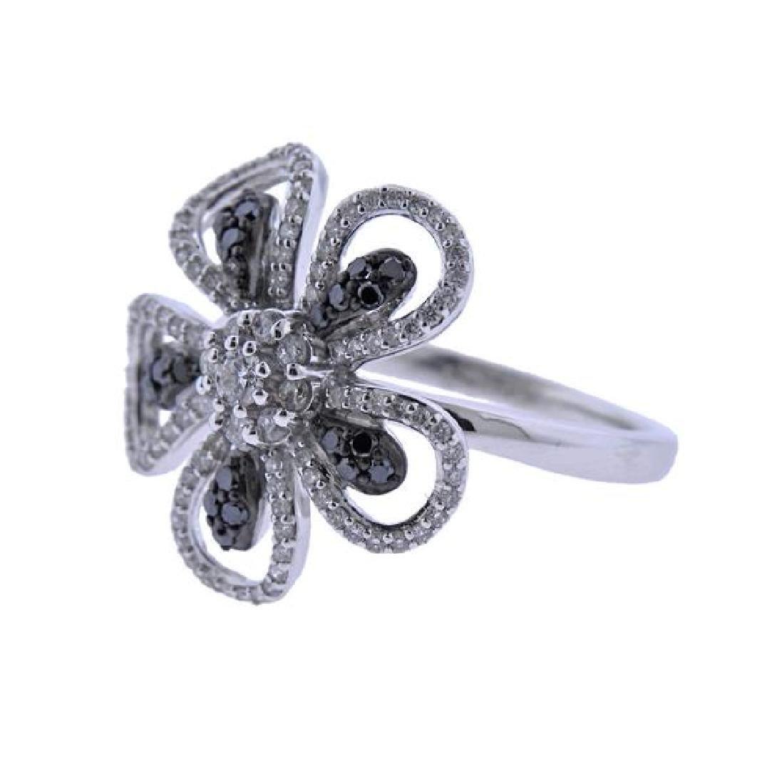 14K Gold White Black Diamond Flower Ring - 2