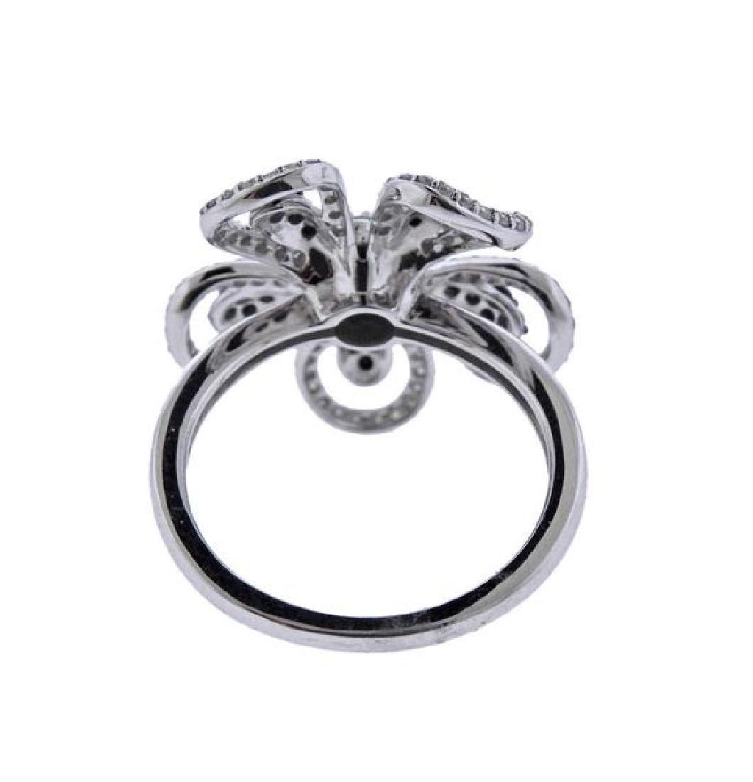 14K Gold White Black Diamond Flower Ring - 3