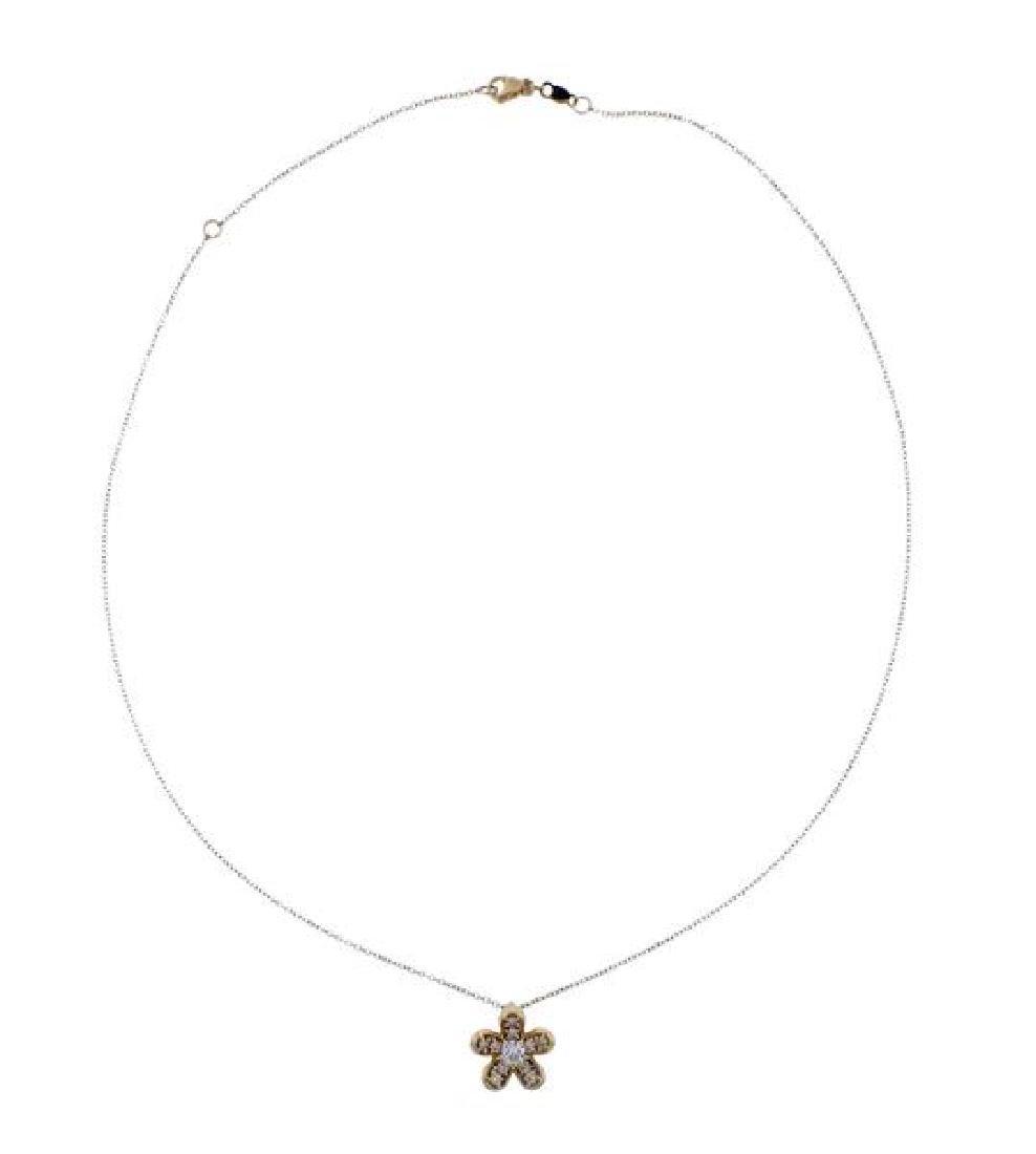 14K Gold Diamond Flower Pendant Necklace