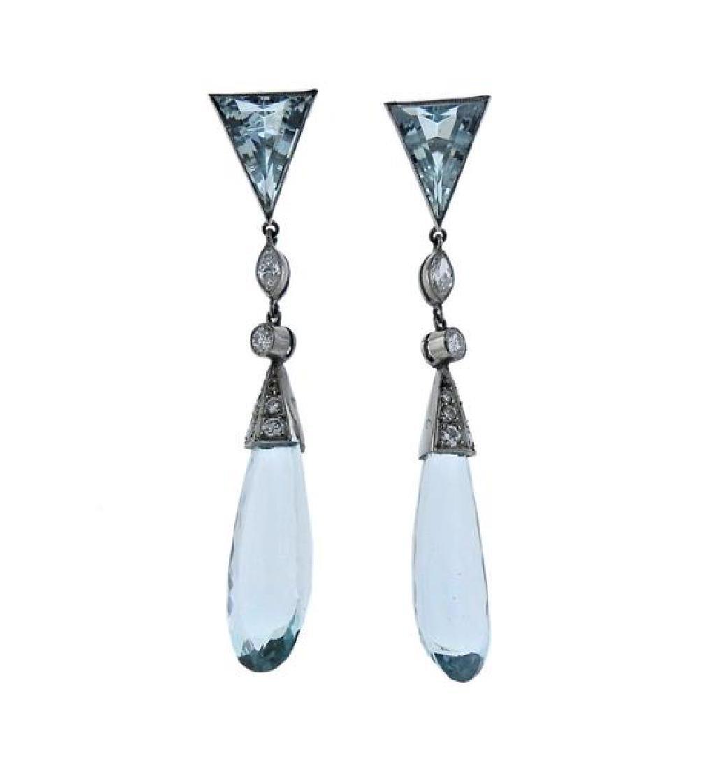 Platinum Diamond Aquamarine Drop Earrings