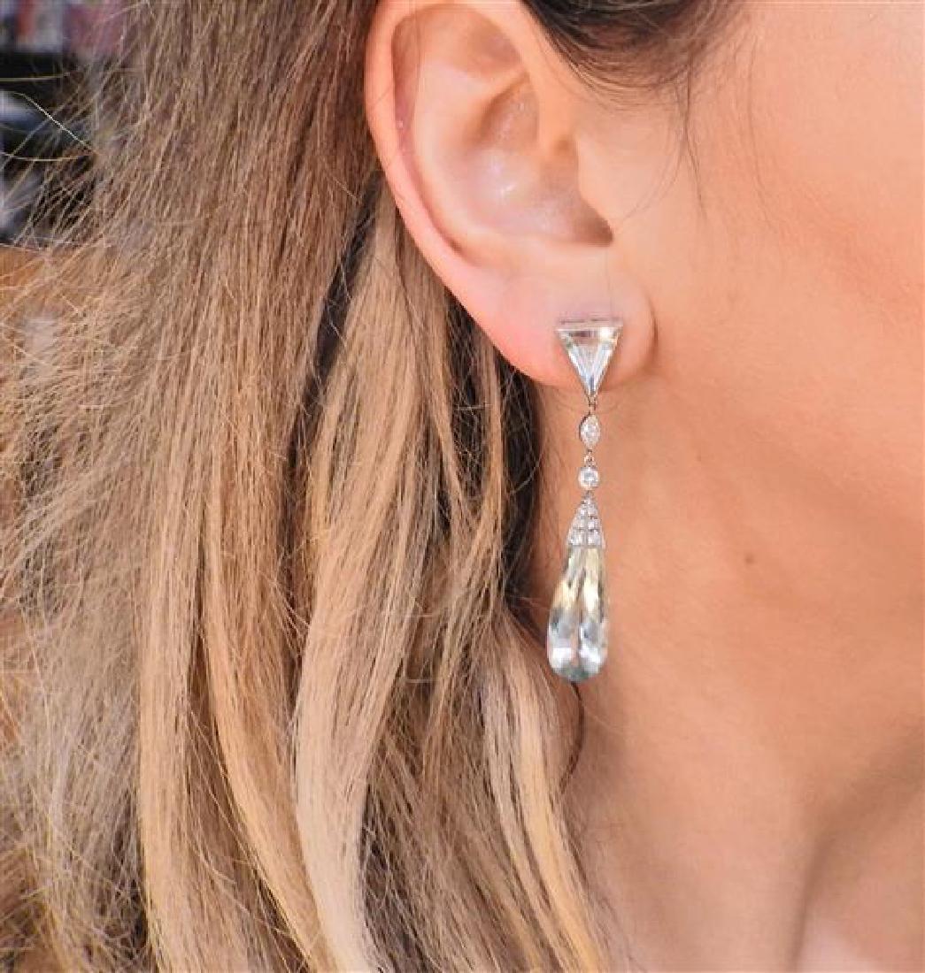 Platinum Diamond Aquamarine Drop Earrings - 4