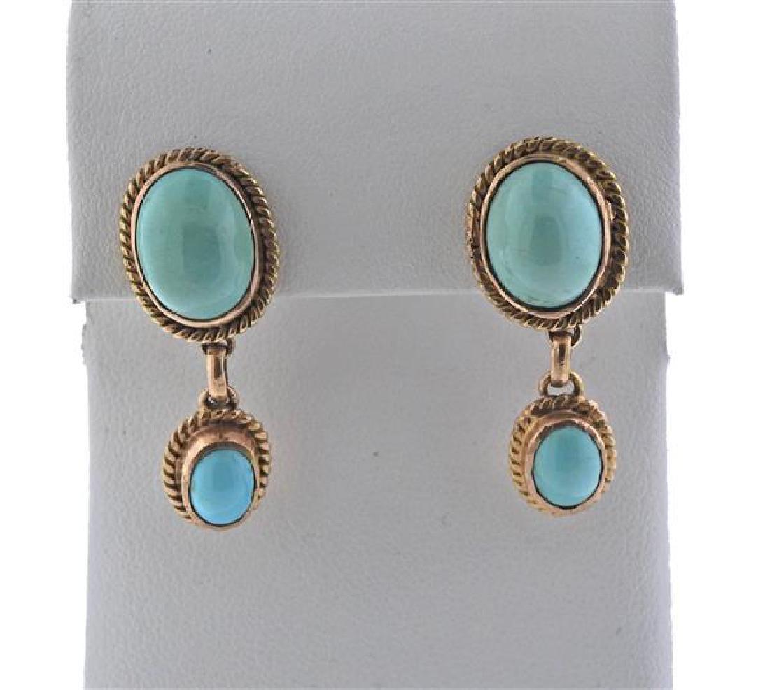 14K Gold Turquoise Drop Earrings