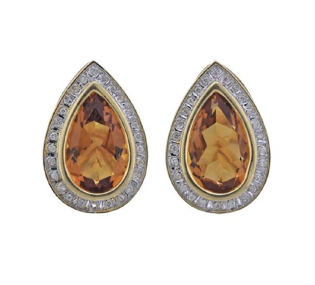 14K Gold Diamond Citrine Teardrop Earrings