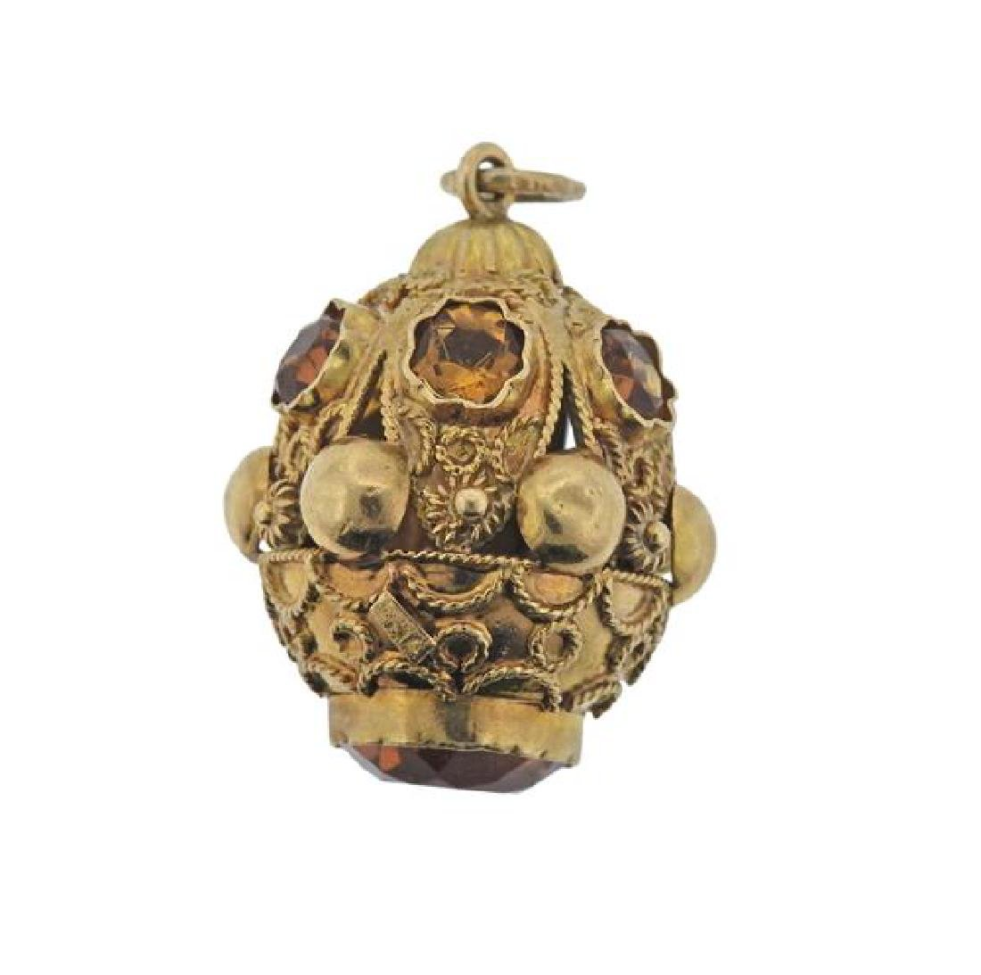 Etruscan 18K Gold Citrine Charm Pendant