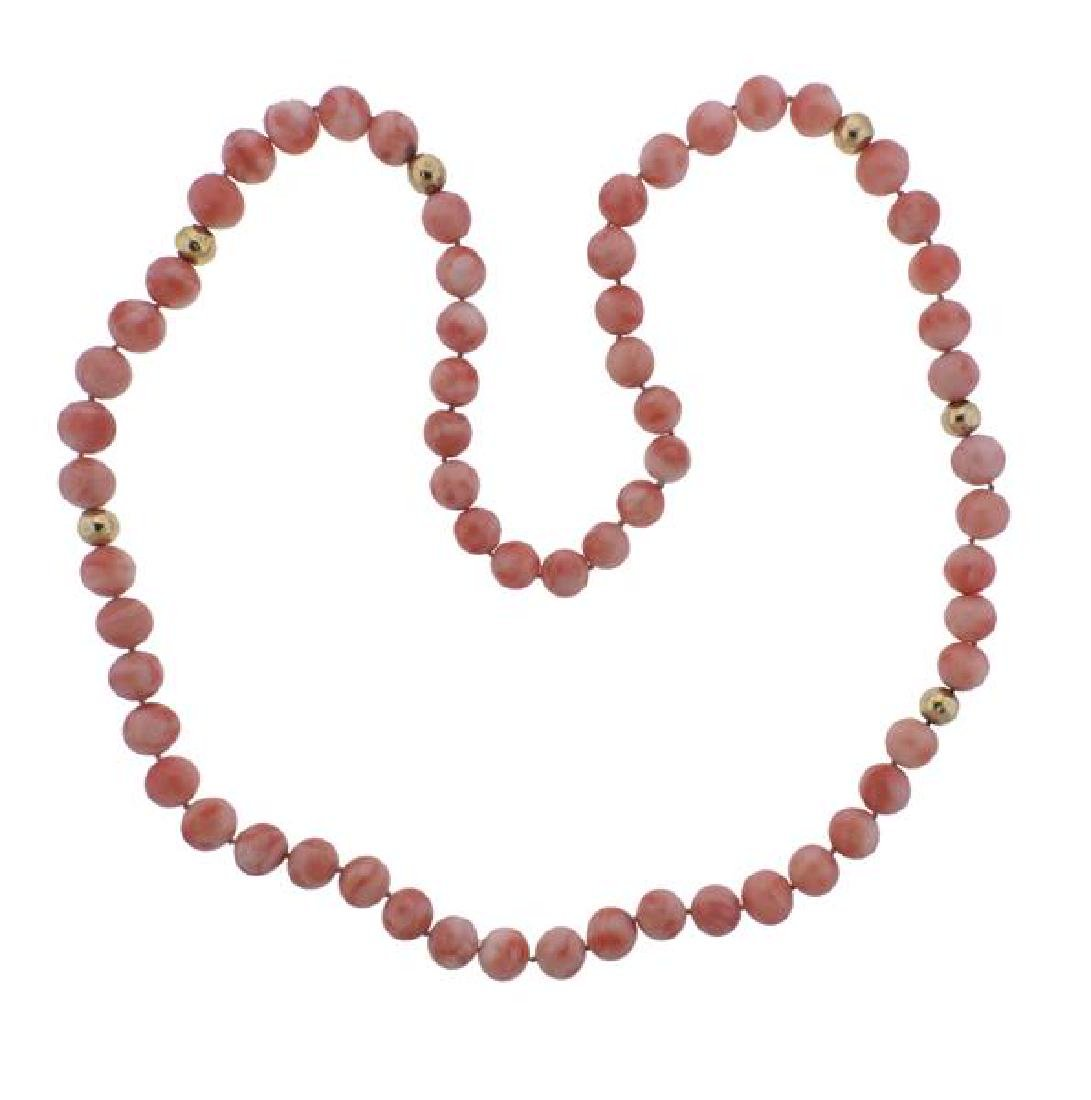Coral 14K Gold Bead Necklace