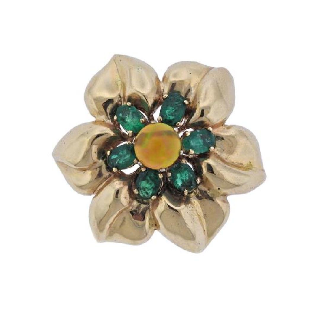 14K Gold Opal Green Gemstone Flower Brooch Pendant