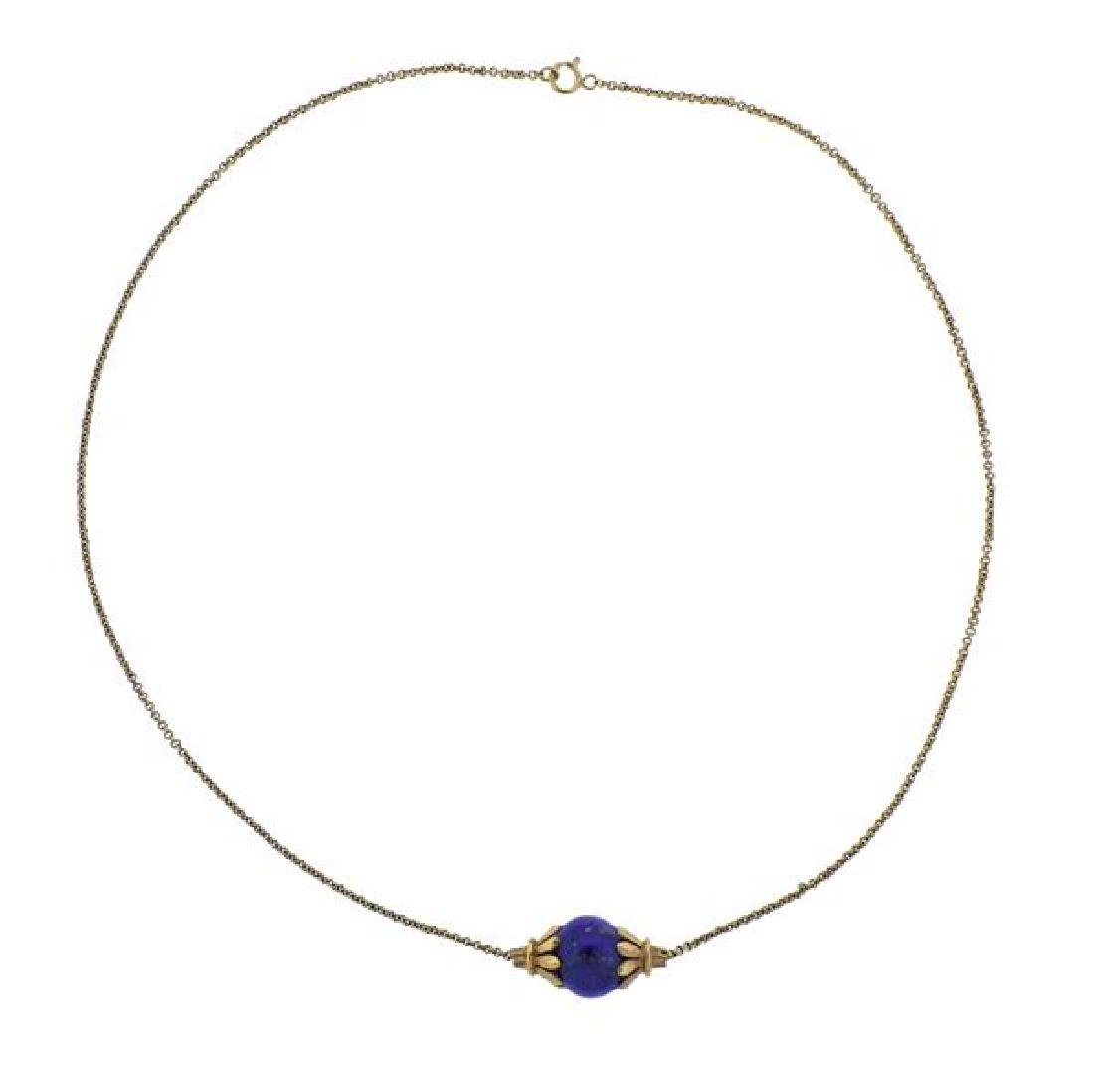 14K Gold Lapis Bead Pendant Necklace