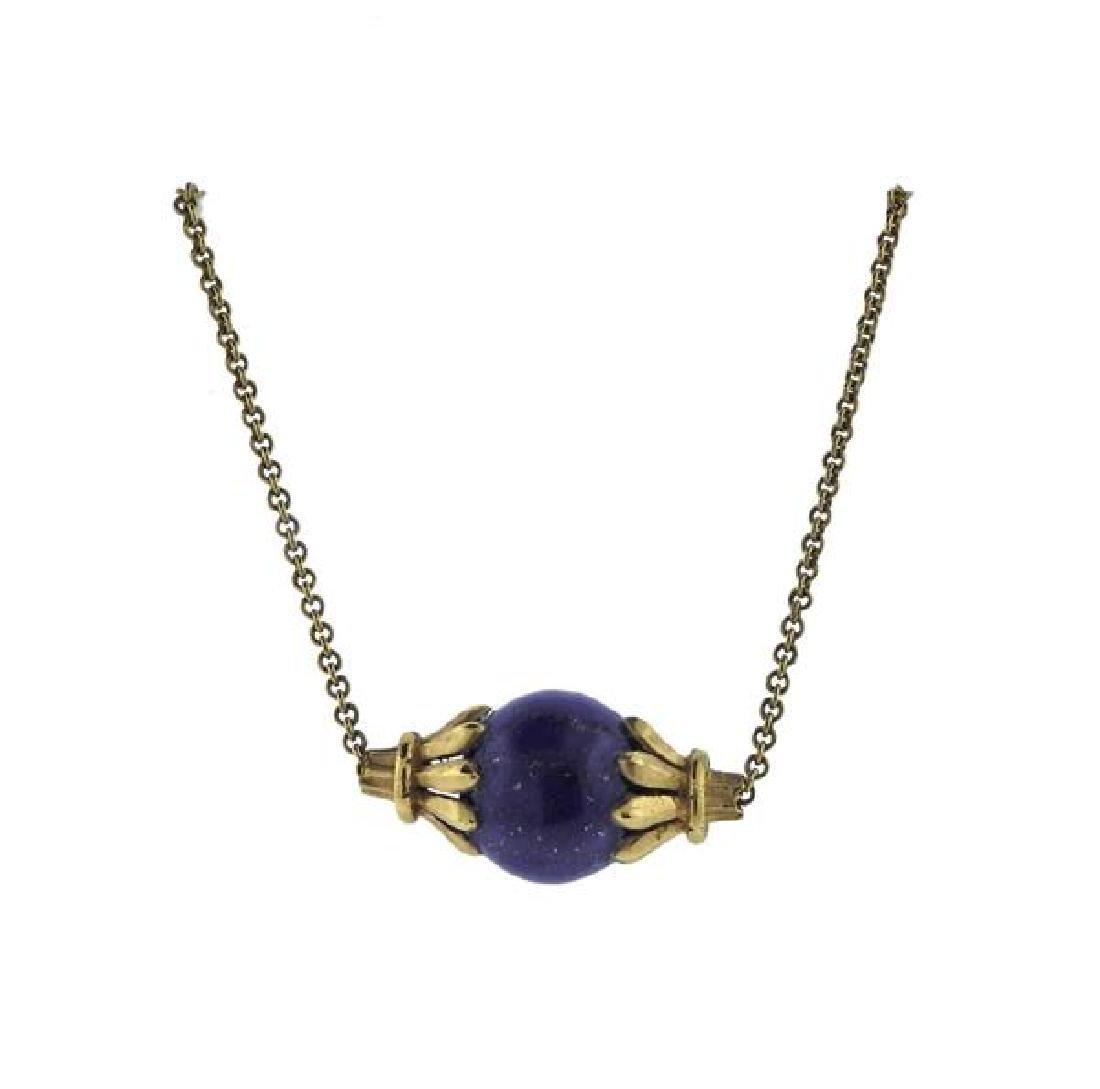 14K Gold Lapis Bead Pendant Necklace - 2