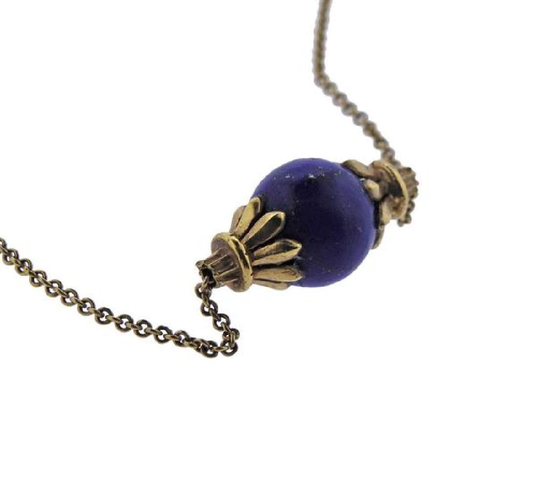 14K Gold Lapis Bead Pendant Necklace - 3