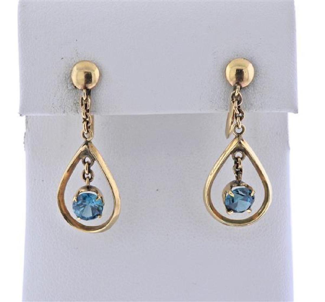14K Gold Blue Zircon Drop Earrings