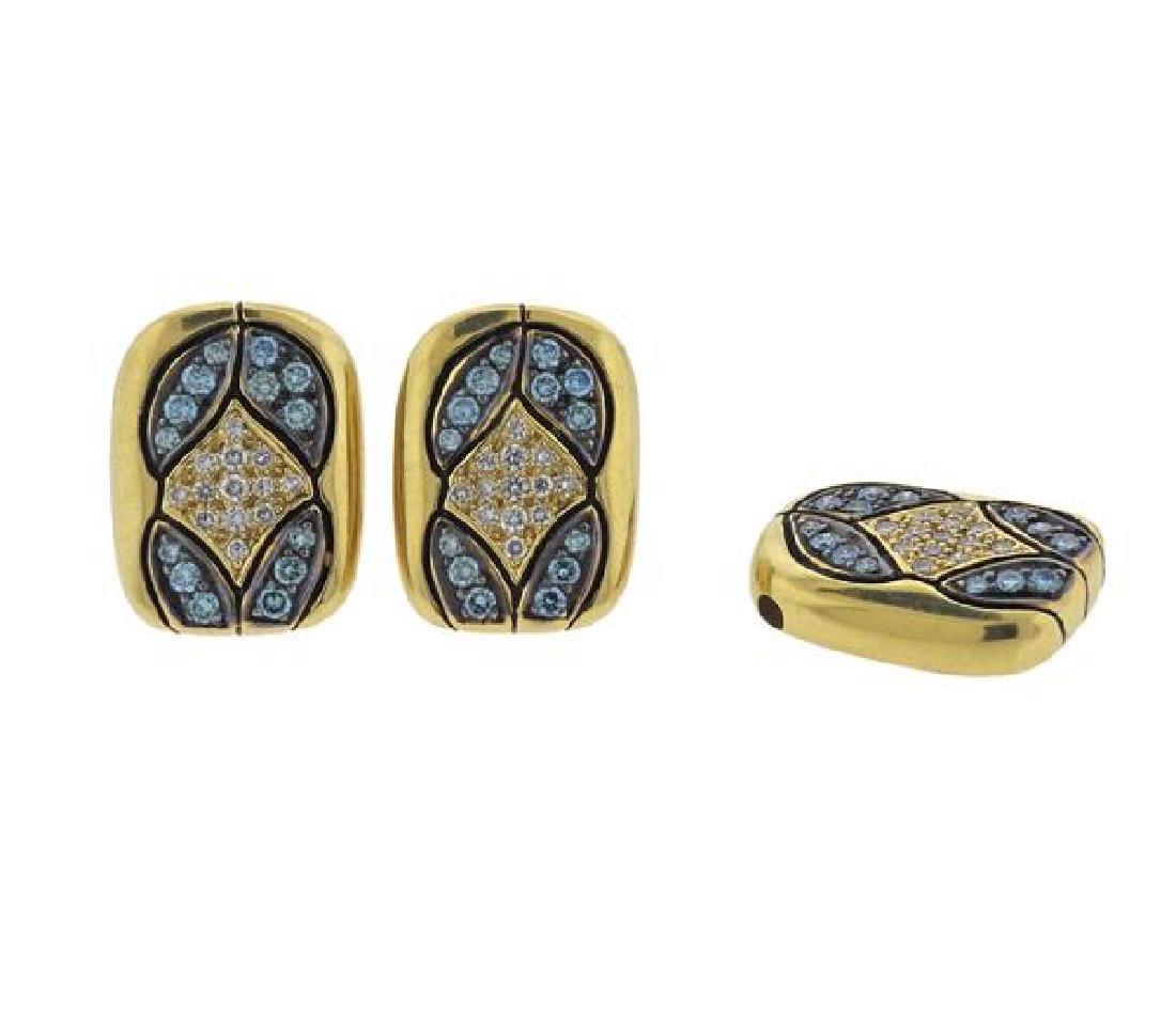 Tenthio 18K Gold Diamond Earrings Pendant Set