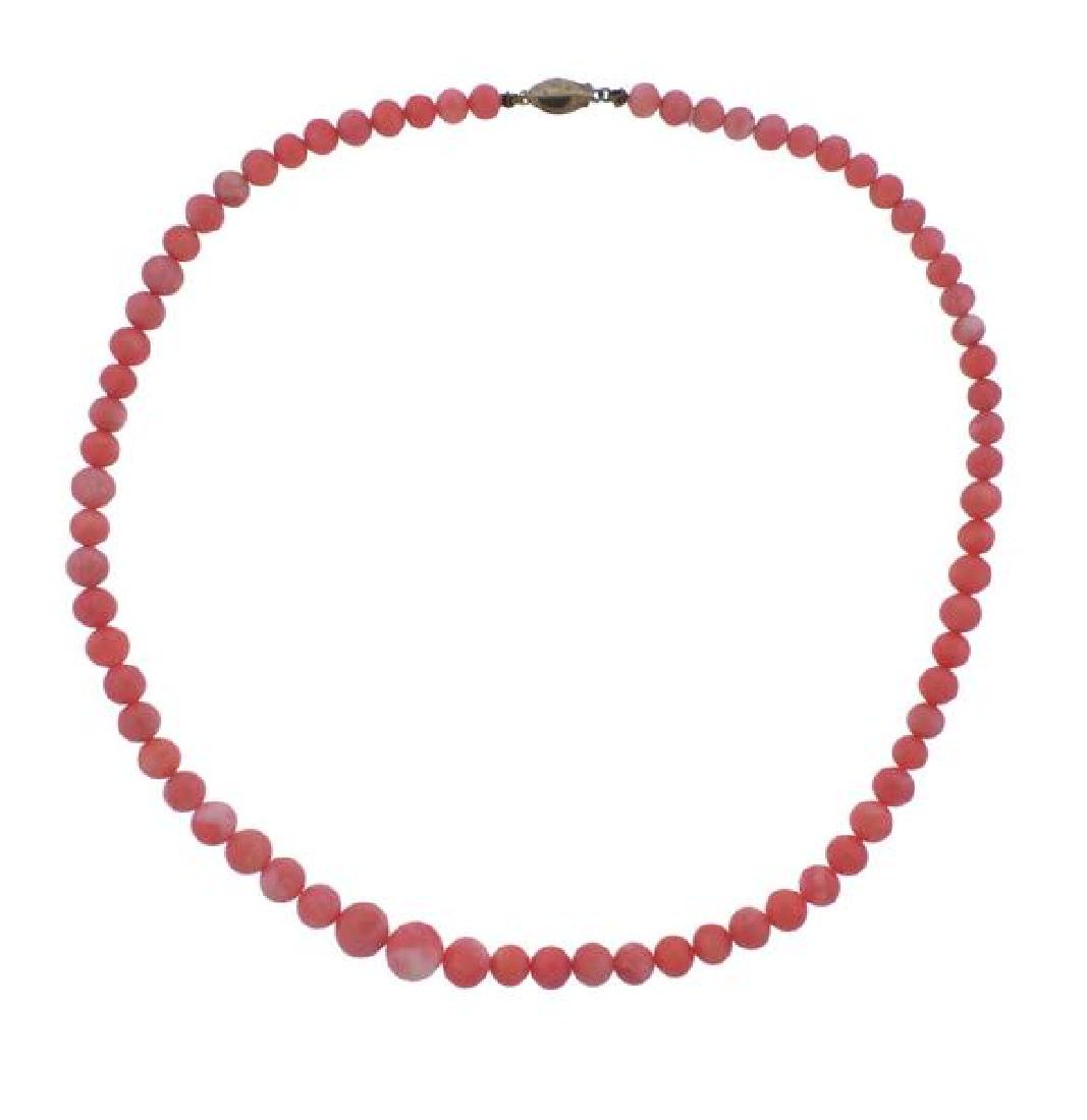 14K Gold Coral Graduated Bead Necklace