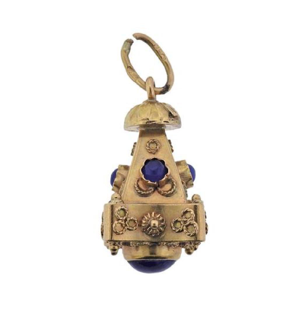 Etruscan 18K Gold Blue Stone Charm Pendant