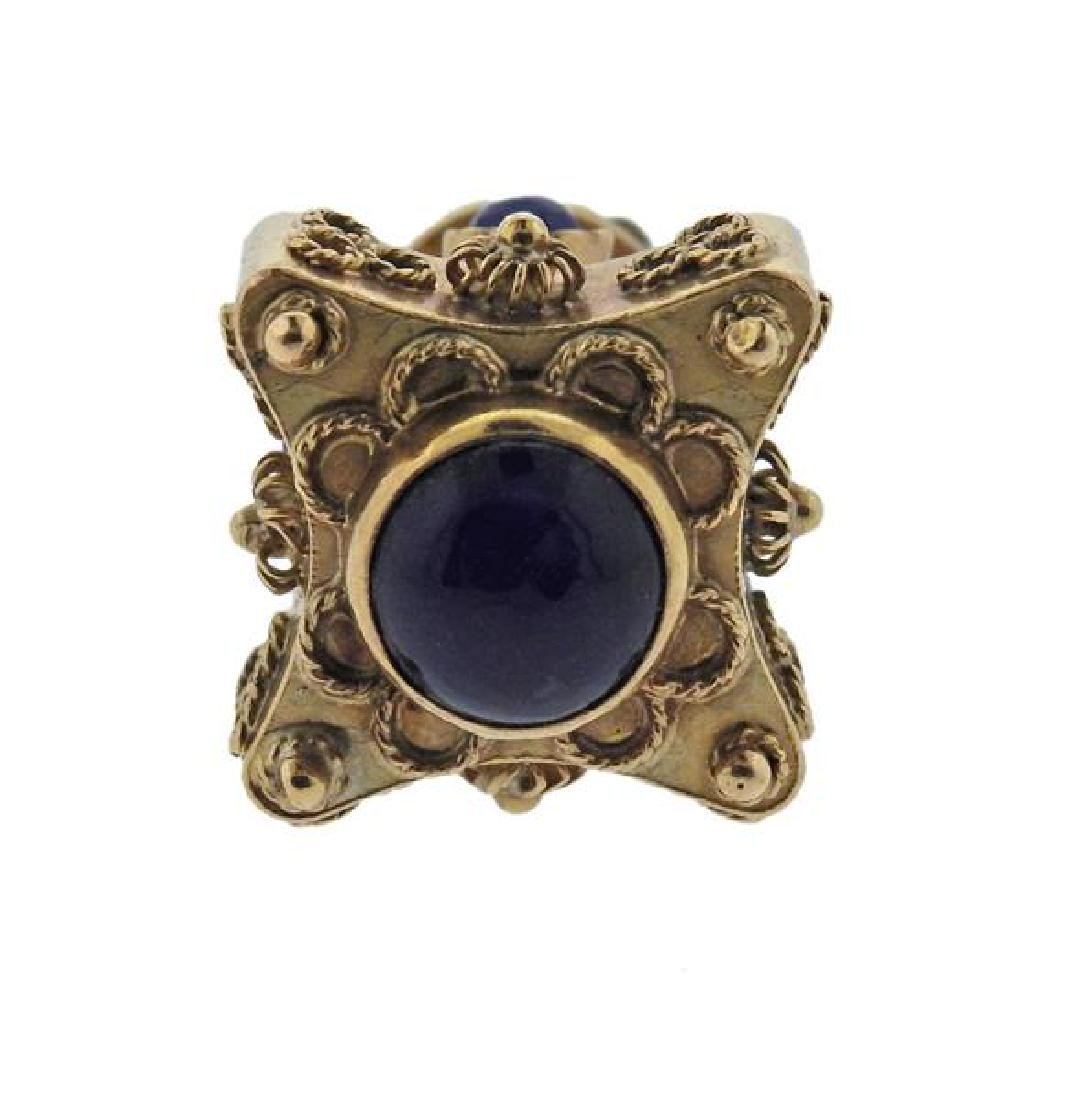 Etruscan 18K Gold Blue Stone Charm Pendant - 2
