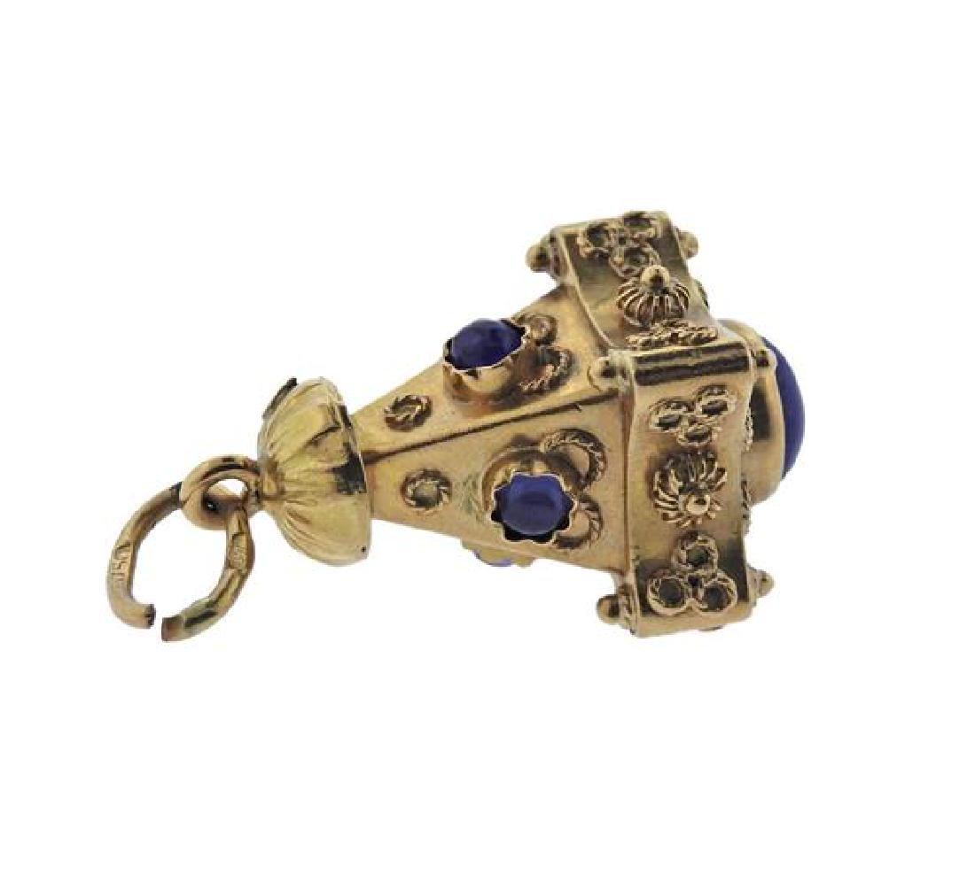 Etruscan 18K Gold Blue Stone Charm Pendant - 3