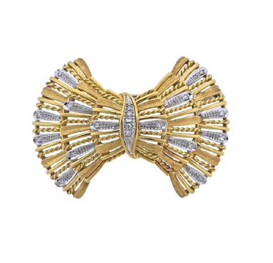18K Gold Diamond Bow Brooch