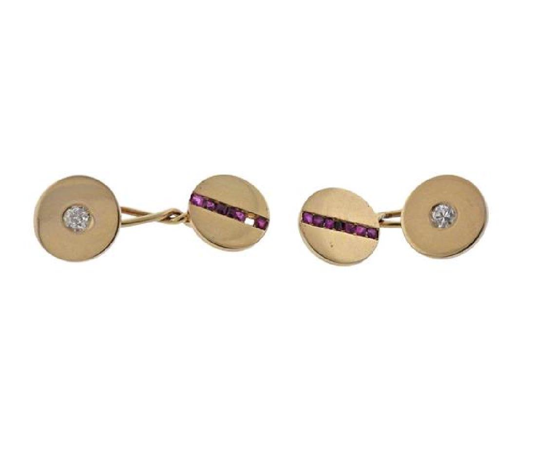 Tiffany & Co 18K Gold Diamond Ruby Cufflinks